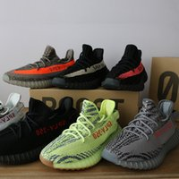 Wholesale Eva Bags - kanye west 350 V2 SPLY 350 Boost shoes Orange Black Stripe pirate black Man Sneakers Sports Shoes ( Keychain+Socks+Bag+Receipt )