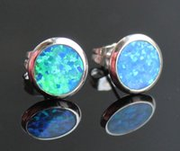 Atractivo diseño de botones redondos 10 mm azul / blanco / rosa Fire Opal Stud Earrings for Lady