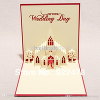 Wholesale Road Video - Ceremony Wedding Chapel Road, creative 3D DIY handmade Wedding Blessing Greeting card 10pcs lot Drop shipping