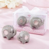 Wholesale Peanuts Baby - 100pcs= 50sets Baby shower favor 'Mommy and Me - Little Peanut Elephant ceramic Salt and Pepper Shaker Wedding Favors and Gifts