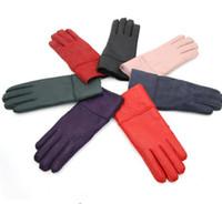 Wholesale Ladies Brown Leather Gloves - Mittens Women Winter Gloves Real Sheepskin Fur Warm Gloves Hot Elegant Ladies Full Wool Finger Genuine Leather Ski Gloves