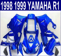 Wholesale Yzf R1 Black - Injection molding free shipping bodywork set for YAMAHA YZF R1 fairings 1998 1999 98 99 YZF-R1 blue black motorcycle fairing kit YP66