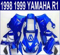 moto yamaha r1 carenado 1998 al por mayor-Moldeo por inyección envío gratuito conjunto de carrocería para carenados YAMAHA YZF R1 1998 1999 98 99 YZF-R1 azul negro carenado kit motocicleta YP66