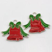 Wholesale Enamel Bell Charms - Hot Sell ! 50pcs Red Enamel Christmas bells Charm Pendant 28.5 X 23.5 MM DIY Jewelry