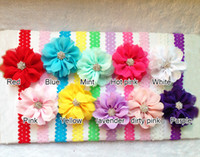 Wholesale Wholesale Eyelet Chiffon Lace Flower - baby toddler infant Hair accessories Hair eyelet Chiffon lace Flower with FOE shimmer Headband children band