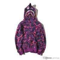 Wholesale Long Zip Sweaters - Teenager Hot Plaid Shark Hoodies Fashion Harajuku Cartoon Sweater Jacket WGM Full Zip Hoodie Fleece Cardigan Sweatshirt Coat Free Shipping