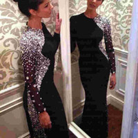 Wholesale Evening Gowns Rhinestones - 2017 Bling Crystal Beaded Black Long Sleeve Sheath Evening Dresses Jewel Neck Sweep Train Muslim Prom Gowns Arabic Sparkly Rhinestones