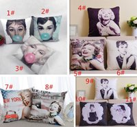 Wholesale Audrey Hepburn Decor - Wholesale-Quality Europ Marilyn Monroe Audrey Hepburn Linen cotton Fabric Throw Pillow Cover Pillowcase Cushion Cover Home Decor