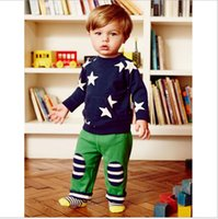 Wholesale Middle Child Clothing - Stars Boy sweatshirt Navy Long sleeve Fleece Geometric Casual Raglan sleeve Middle Big Children clothes Autumn Winter 2-7T Quality Wholesale