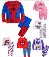 Wholesale Men Cartoon Pyjamas - 6 sets lot Baby Girl's Boy's Spider-Man Mickey Minnie Mouse Pajamas suit children cartoon pyjamas kids sleepwear homewear