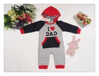 Wholesale I Love Dad Romper - Free shipping 2015 Spring Baby Romper I Love Mom & I Love Dad Cotton Long Sleeve Jumpsuits Children One-Piece Kids Clothing