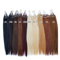 "Wholesale Micro Loop Hair Wholesale - Wholesale- 14"" - 24"" 0.8g s 160g lot 200s lot Micro Loop Hair Extensions 1# 1B# 2# 4# 6# 27# 99J# 27# 613# dhl free shpping"