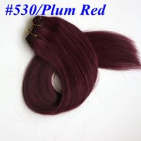Wholesale Natural Red Hair Colors - Top Quality 100% Human Hair weaves straight hair bundles 100g 22inch #530 Plat Red hair wefts Brazilian Indian hair Extensions