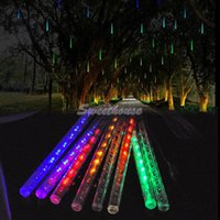 Wholesale Cheapest String Lights - Wholesale-Cheapest 8pc Set 20CM Meteor Led Christmas Lights Fairy String Outdoor Wedding Garden Tree Decoration Light US to AU Plug 36