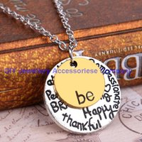"""Wholesale Love Tone - 24pcs 50cm 2015 Fashion Two-Tone """"Be"""" Graffiti Charm Necklace Two Pcs Silver Rose Gold Plated Circle Pendant Necklaces Jewelry Women For Chr"""