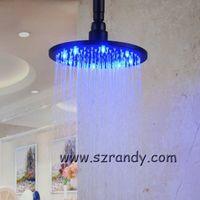 Wholesale Rain Light Oil - water power 8 Inch Oil Rubber LED Light Rain Shower Head RGB 3 Colors Changing Temperature
