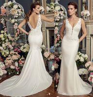 Wholesale Thick Satin Wedding Dresses - elegant sheath wedding dresses 2017 mikaella bridal sleeveless thick strap deep plunging v neck lace bodice satin skirt open v back
