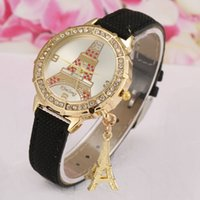 Wholesale Dresses Coupons - Coupon for wholesale Eiffel Tower Crystal Ladies Watch Wrap Quartz Dress Casual Watch Gold Case Wholesale Leather Watch