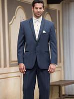 Wholesale Cheap Mens Summer Wear - Cheap 2016 Custom Made Wear Navy Blue Suit Groom Tuxedos Grooms Men Mens Suits Traje de Novio Azul Men Wedding Suits (Jacket+Pants+Vest)