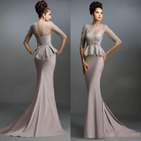 Wholesale China Plus Size Evening Gowns - China Mermaid Formal Evening Gowns 2015 Gray Lace Mother of the Bride Dresses Cheap Plus Size Long Train Sheer Occasion Party Dress Sleeves