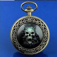 Wholesale Unique Clocks - Cool Nightvision 50mm Skull Pocket Watch atmos clock steampunk steampunk unique quartz pocket watches best gifts