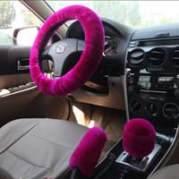 ingrosso ruota della pelliccia-Coprivolante rosa in lana Coprivolante copriruota a pelo corto copricerchio copricerchio parapioggia frizione + freno a mano livello 3pz