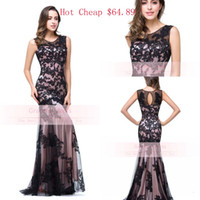 Wholesale Tank Top Evening Dresses - In Stock Only $64.89 Lace Sheer Prom Dress 2016 Sexy Jewel Neck Backless Tank Top Mermaid Appliques Tulle Formal Evening Party Gowns CPS015