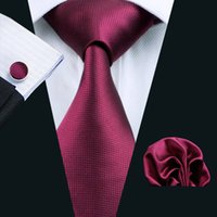 Wholesale Top Quality Cufflinks - Top Selling High Quality Maroon Tie Set Hanky Cufflinks Jacquard Cheap Woven Business Tie Set N-0296