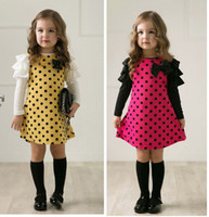 Wholesale Dress Polka Dot Pink Girls - New Arrival Baby Long Sleeve Polka Dots Dresses For Girls Princess Bowknot Long Dress Party Vestidos