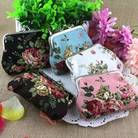 Wholesale Buckle Clutch - Creation Vintage Flower Coin Purse Canvas Key Holder Wallet Hasp Buckles Small Gifts Bag Clutch Handbag Bank Card Casual Bag ZJ-T09