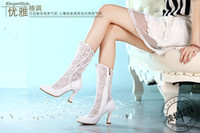 Wholesale Cheap Ballet High Heels - 2017 New White Lace Beading Cheap Wedding Boots Chunky Heel Bridal side zipper Shoes Mid calf Party Prom Women Shoes shoes free Shipping