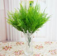 "Wholesale Simulation Grass - HOT Fake Plants 36cm 14.17"" Length 10Pcs Artificial Silk Flowers Simulation Asparagus Grass Green Plant 7 Stalks for Wedding Flower"
