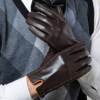 Wholesale Genuine Leather Glove - Winter Men's Genuine Leather Gloves 2017 New Brand Touch Screen Gloves Fashion Warm Black Gloves Goatskin Mittens GSM012