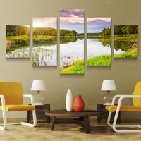 pain nature - 5 Panel Art Scenery Paintings Nature Decoration Wall Scenery Paining Canvas Picture Cuadros For Living Room Unframed PRL1009