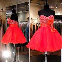 Crimson Red Bow Homecoming Dresses 2016 Beaded Sequins Empire Ruffles Ball Gown Cheap Homecoming Dress Party Cocktail Pageant Wear
