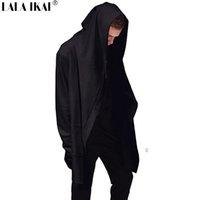 assassin creed hoodie black al por mayor-Al por mayor-nueva vanguardia capucha grande doble escudo Escudo para hombre sudaderas con capucha Negro Capa Assassins Creed Outwear la chaqueta de gran tamaño SMC0042-5