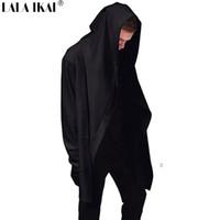 ingrosso assassini creed hoodie 4xl-All'ingrosso-Nuovo Avanguardia Big Hood doppio cappotto-Coat Mens magliette felpate mantello nero Assassins Creed Outwear Oversize SMC0042-5