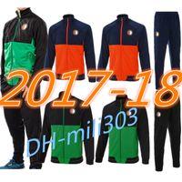 Wholesale Train Set Free - Top quality 2017 2018 Feyenoord jacket training suit 17 18 Kuyt Lex VILHENA Simon maillot de foot zipper jacket tracksuit set free epacket
