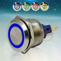 Wholesale waterproof push button switch led - New LED Metal Push Button Switches Waterproof Self Locking or Self Reset 1NO 1NC 22mm 24V Four colors to Choose