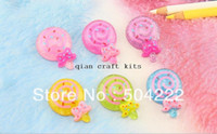 Wholesale Lollipop Cabochon - 300pcs little glitter Candy Lollipop Cabochon, Kawaii Fake Sweets Decoden for jewelry DIY Cell Phone decoration