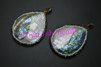 Wholesale Mop Jewelry Wholesale - Paved Crystal Beads On Side Around 40x50MM Half MOP Abalone Shell Pear Water Drop Woman Pendant Fit Necklace Jewelry Making