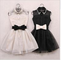 Wholesale Black Belted Dress Small - Womens Pearl Diamond Casual mini Dress 2015 hot white black Small Lapel Gauze Waist Tutu Party One-piece short dress with bow belt 0105