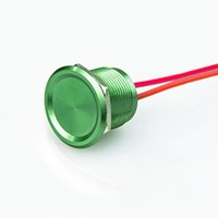 Interruptor piezoelétrico, vedado impermeável IP68, verde metal Anti vandal Push Button Momentary Piezo Switch 2v-24V com 2 fios Lead