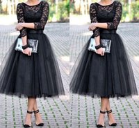 Wholesale Evening Skirt Shipping - 2015 evening dresses bridesmaid dresses 3 4 Long Sleeves Tulle Skirt Bridal Shower Tea Length cheap free shipping Party Prom Gown