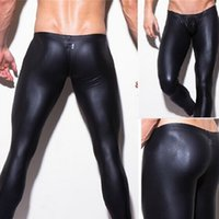 Wholesale N2n Elastic - 1pcs mens long pants tight fashion hot black human made leather sexy n2n boxer Full Length panties trousers Brand Straight