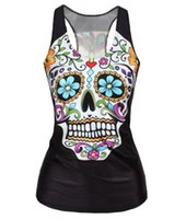 Wholesale Skull Print Shirts Women - V-09 Spring New 2015 Women t-shirt Floral Sugar Skull Crop Tops Adventure Time Camisole HOT SALE