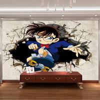 ingrosso ragazzo arte della camera da letto-3D View Detective Conan Foto carta da parati giapponese Cartoon Mural Kids Boy Personalizzato carta da parati in seta Giant Wall Art decor Camera da letto Decorazione della casa