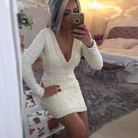 Wholesale white short cocktail dress crystals resale online - 2018 Sexy Cocktail Dresses Deep V Neck White Lace Beading Pearls Sheath Long Sleeves Plus Size Formal Prom Party Short Homecoming Gowns