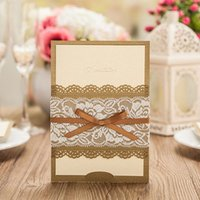 Wholesale Brown Wedding Invitation Cards - New Fashion Wedding Invitation Cards Personlized Laser Cut Pink Brown Color With Lace Flora and Bowknot in Waist custom quote Continental