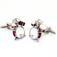 Wholesale Mixing Drums - Popular clothing spot mixed batch of new music series drums shape trade cufflinks cufflinks Cufflinks CZ